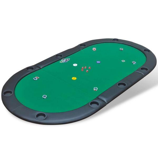 Składany blat do pokera dla 10 graczy, zielony zdjęcie 1