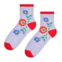 Skarpetki damskie folk - kwiat łowicki - szare tło - 35-37