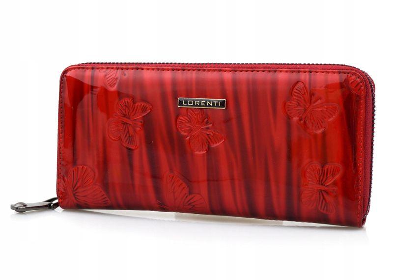LORENTI portfel skórzany damski motyle suwak P041 czerwony zdjęcie 6