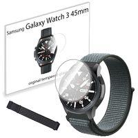 Pasek nylonowy opaska i szkło hartowane do Samsung Galaxy Watch 3 45mm Storm Grey