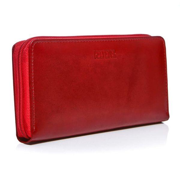 Czerwony damski portfel skóra naturalna BELVEDER w pudełku zdjęcie 1