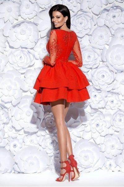 Sukienka z koronkowym gorsetem długi rękaw czerwona Rozmiar XS