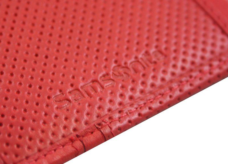 Długi, klasyczny portfel damski Samsonite, skórzany w kolorze czerwonym zdjęcie 5