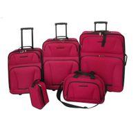 Zestaw walizek podróżnych 5 elementów kolor czerwony VidaXL
