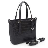 FLORA&CO torebka damska sztywna kuferek mini kroko V465 czarna