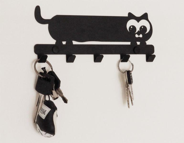 Metalowy wieszak ścienny na ubrania klucze - KOT zdjęcie 4