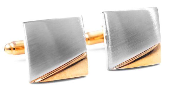 Srebrno-złote kwadratowe spinki do mankietów N54