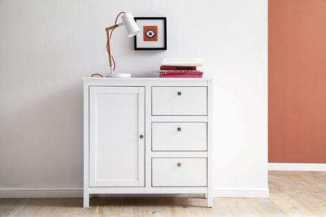 OLE biała komoda matowa 1 drzwi, 3 szuflady - styl skandynawski