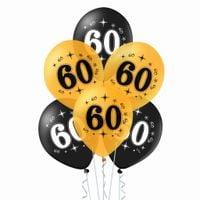 Balony na 60 urodziny czarne i złote, 30 cm 10 szt.
