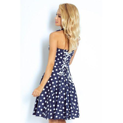 626374fbdb Rockabilly pin up sukienka - GRANATOWA w białe kropki - Z GUZIKAMI UNI  zdjęcie 4