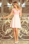 Rozkloszowana sukienka z koronką - Różowy XL