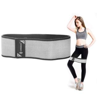 Taśma fitness hip band M szara 2x38 cm