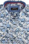Jedwabna Koszula Męska Koneser błękitna w kwiaty z długim rękawem w kroju REGULAR A555 M 39 176/182