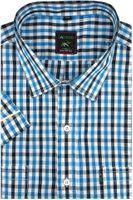 Duża Koszula Męska Laviino niebieska w kratkę na krótki rękaw duże rozmiary K922 6XL 50 182/188