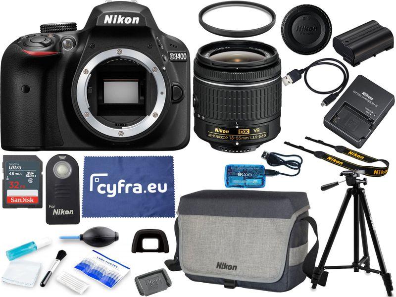 Aparat Nikon D3400 + 18-55 VR +ZESTAW XXL + szmatka zdjęcie 1