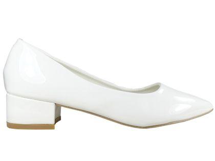 Białe niskie czółenka buty ślubne eko skóra 39