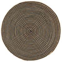 Dywanik ręcznie wykonany z juty, spiralny wzór, czarny, 90 cm