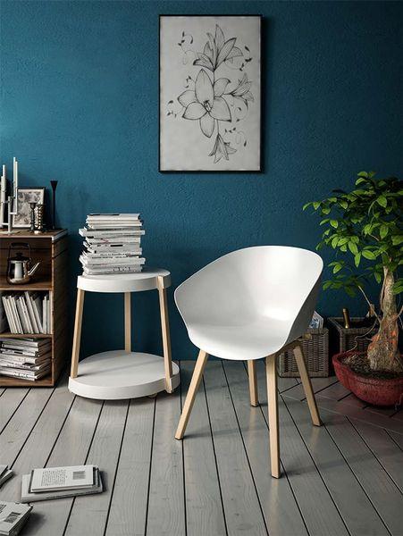 MODESTO fotel ANGEL biały - polipropylen, podstawa bukowa zdjęcie 1