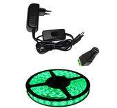 Taśma LED 5m 60/m SMD 3528 zielona+zasilacz z wyłącznikiem-zestaw