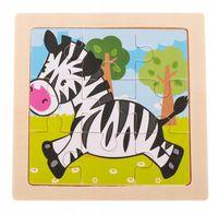 UKŁADANKA PUZZLE DREWNIANE Zebra 9 el 11x11 cm