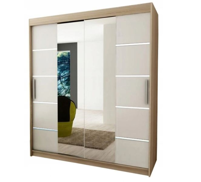 Szafa przesuwna garderoba Verona 4-180 z lustrem biała wenge sonoma na Arena.pl