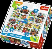 TREFL Puzzle 4 w 1 Psi Patrol, Dora, Blaze, Bąbelkowy świat Gupików, Wspólna zabawa (34292)