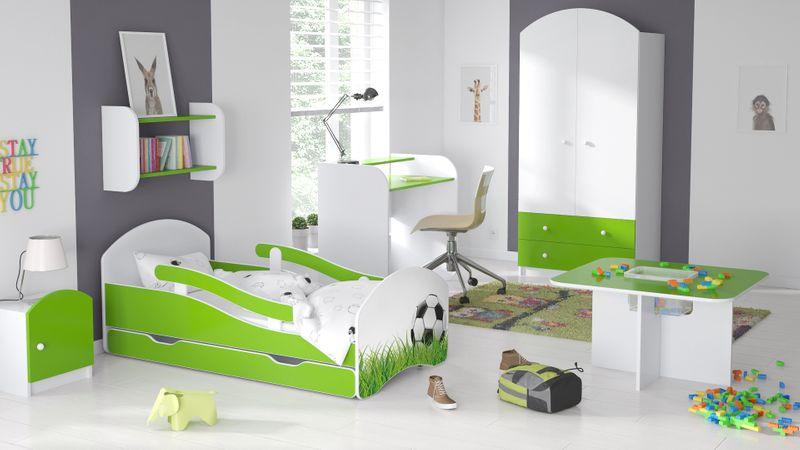 Łóżko dziecięce 140x70 biało-zielone/limonkowe materac gratis zdjęcie 17