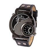 Zegarek męski, Oulm, dwa czasy, modny, skóra, SUPER DESIN - NOWOŚĆ