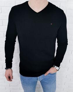 Czarny męski sweter w serek z ozdobnym znaczkiem 3454 - XXL