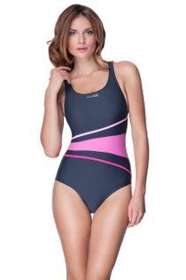Kostium pływacki STELLA Rozmiar - Stroje damskie - 38(M), Kolor - Stroje damskie - Stella - 303 - szary / różowy
