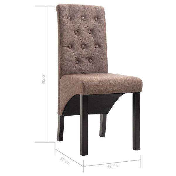 Krzesła Stołowe, 2 Szt., Brązowe, Tapicerowane Tkaniną zdjęcie 8