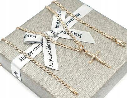 Łańcuszek Krzyż Stal Chirurgiczna Złoty Pozłacany