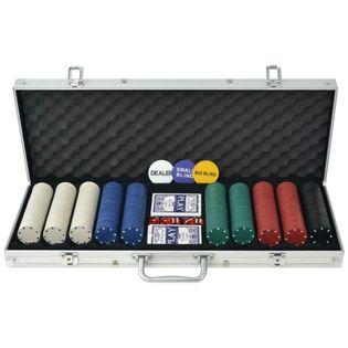 Zestaw do pokera 500 żetonów, aluminium