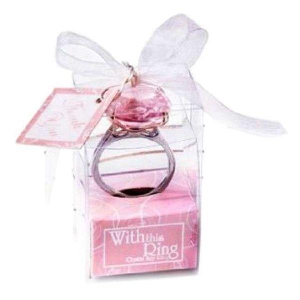 Diamentowy brelok różowy PIERŚCIONEK z brylantem zdjęcie 2
