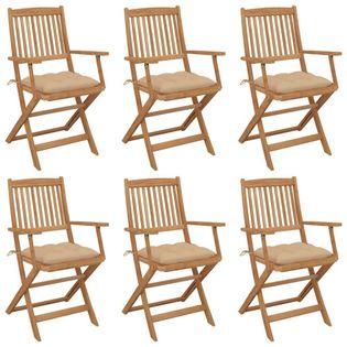 Lumarko Składane krzesła ogrodowe z poduszkami, 6 szt., drewno akacjowe