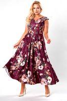 Rozkloszowana sukienka maxi z kontrafałdami i odkrytymi ramionami - Bordowy 40