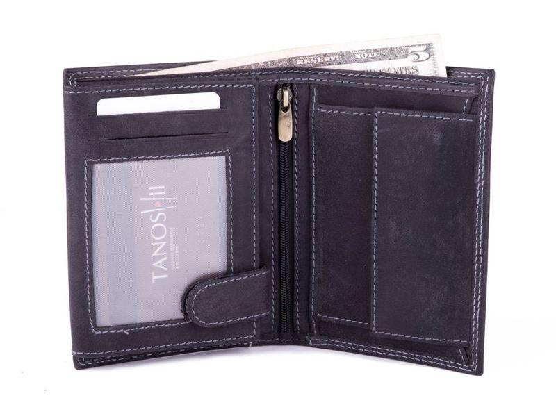 Elegancki czarny skórzany męski portfel czarny zdjęcie 2