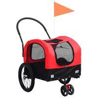 Przyczepka dla zwierząt do roweru i biegania, czerwono-czarna