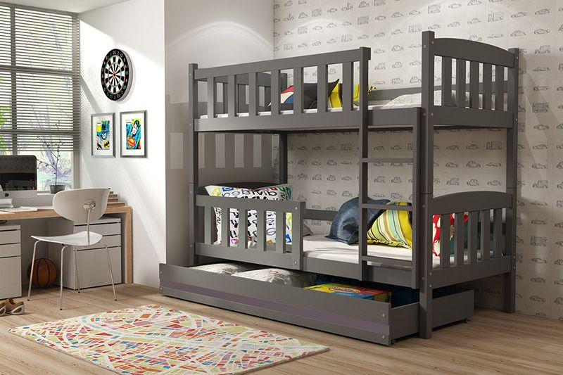 Łóżko piętrowe dla dzieci Kubuś 190x80 dziecięce + MATERAC + SZUFLADA zdjęcie 5