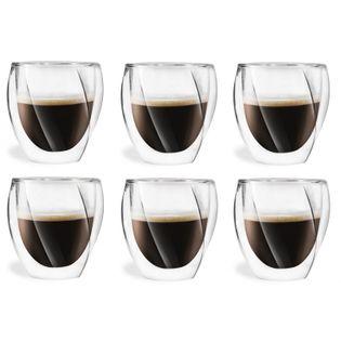 Szklanki Termiczne z Podwójną Ścianką do Kawy Latte Herbaty 250ml 6szt