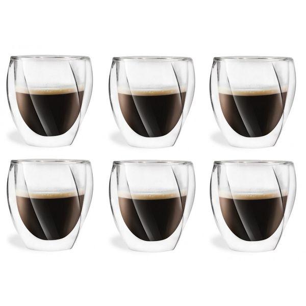Szklanki Termiczne z Podwójną Ścianką do Kawy Latte Herbaty 250ml 6szt zdjęcie 1