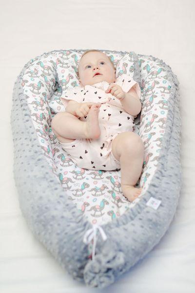 Dwustronny kokon dla niemowląt + motylek Konik z różowym LiliBaby zdjęcie 5