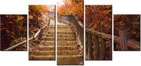70cm 150cm obraz 5 elem Jesienny spacer ścienny druk cyfrowy