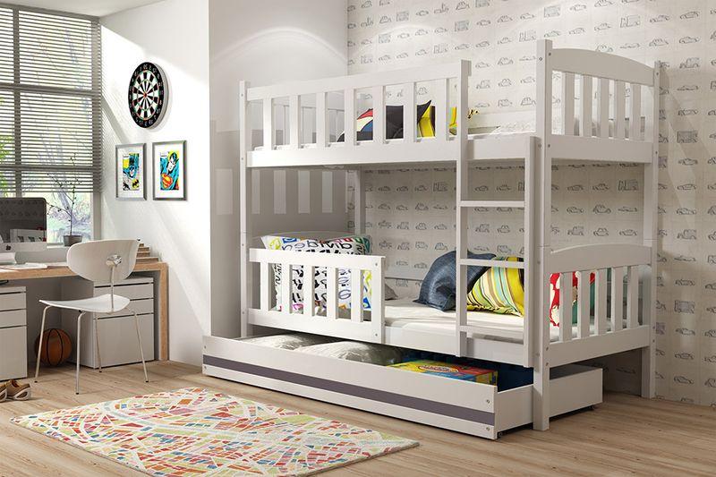 Łóżko piętrowe dla dzieci Kubuś 190x80 dziecięce + MATERAC + SZUFLADA na Arena.pl