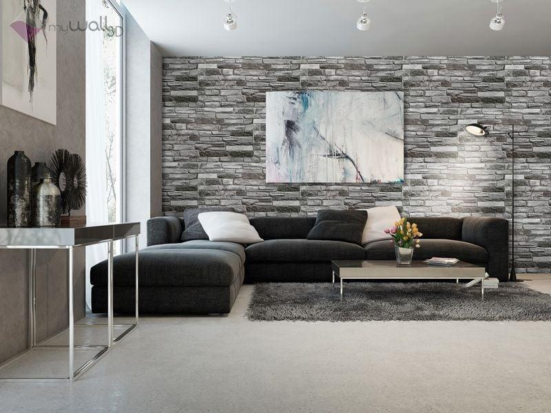 Dekoracyjne Panele ścienne Pcv 3d Grey Stone Plastikowe Okładzina