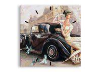 Zegar Ścienny - Retro Auto Dama  - 60X60 Cm - C3Ac60X60-3467