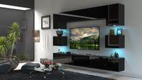 Meblościanka NOWARA N1 Salon LED czarny połysk 1B