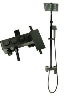 Zestaw natryskowy z baterią MAXO deszczownica ultra slim czarny