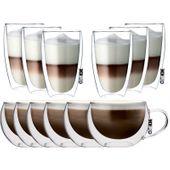 Szklanki z Podwójną Ścianką do Kawy Herbaty Latte i Cappucino 12 sztuk
