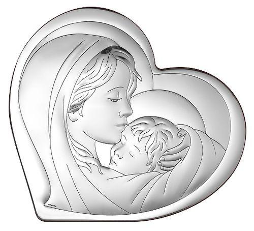 OBRAZEK SREBRNY 28x25cm MATKA BOŻA w kształcie serca PREZENT NA ŚLUB, CHRZEST, KOMUNIĘ na Arena.pl